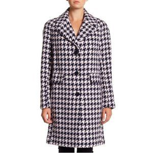 Kate Spade Houndstooth Coat Navy and Pink M NWT